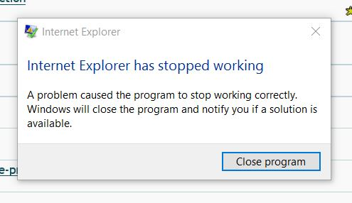 IE11 has stopped working error